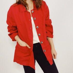 Flax Red 100% Linen Pocket Jacket Size Medium